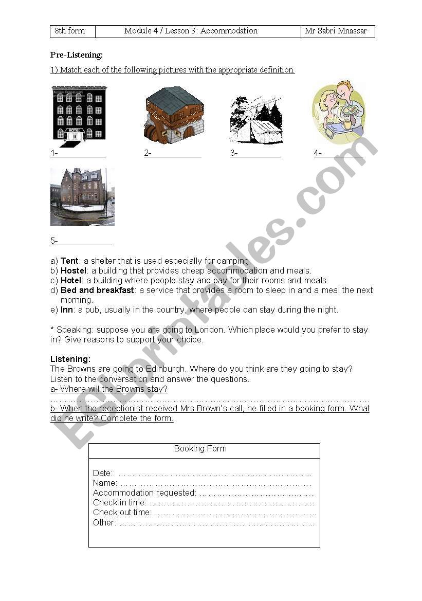 accommodation worksheet