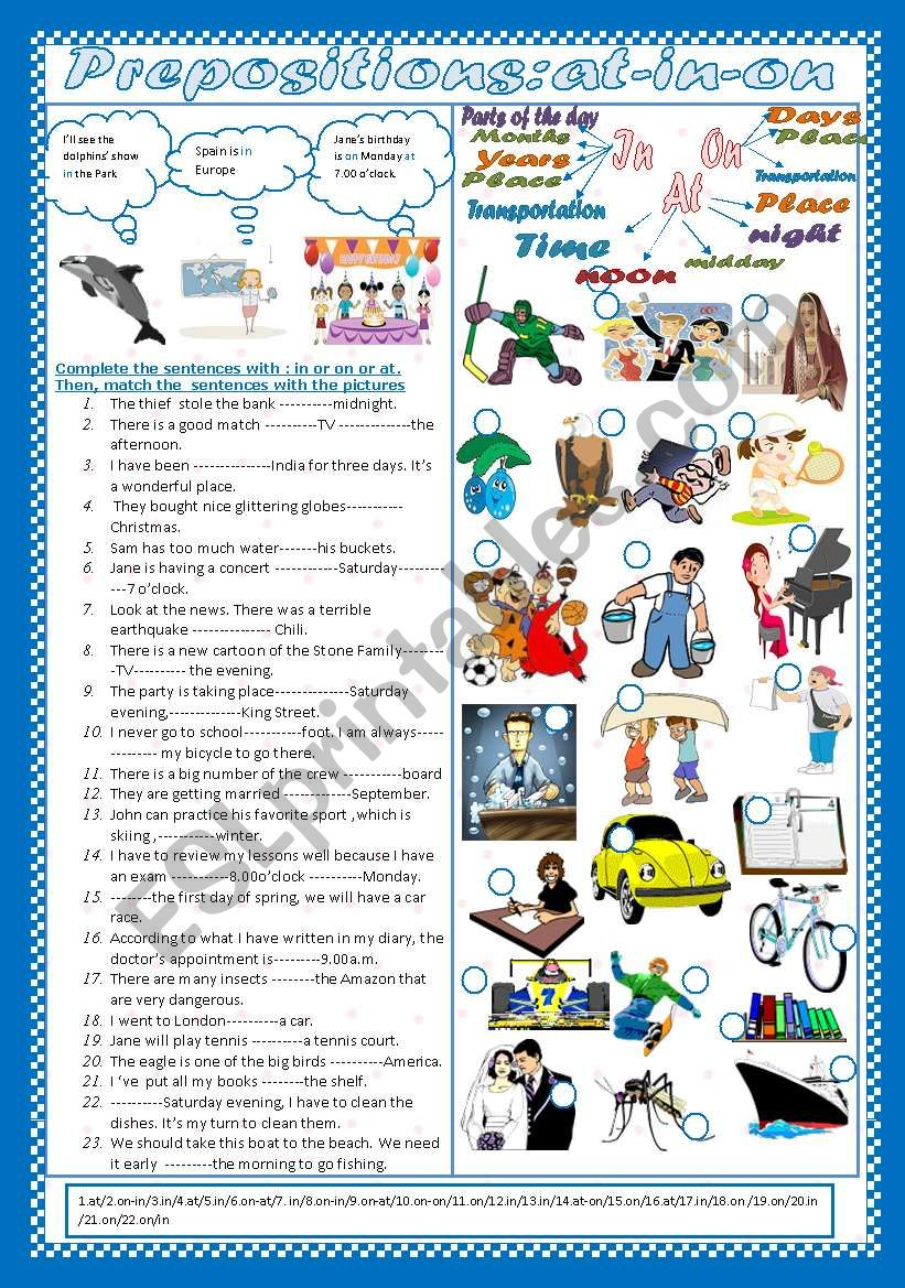 Prepositions:At-On-In (+Key) worksheet