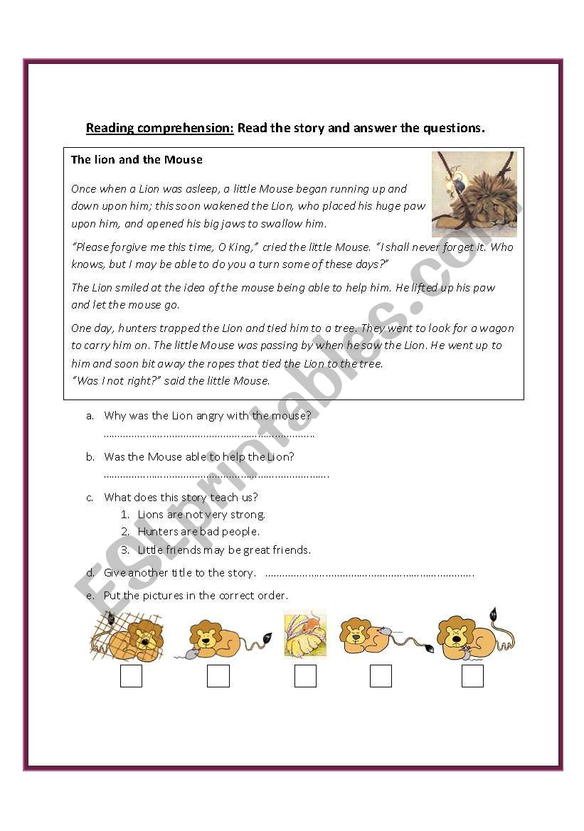 Worksheets The Lion And The Mouse Worksheets the lion and mouse esl worksheet by fafauu worksheet