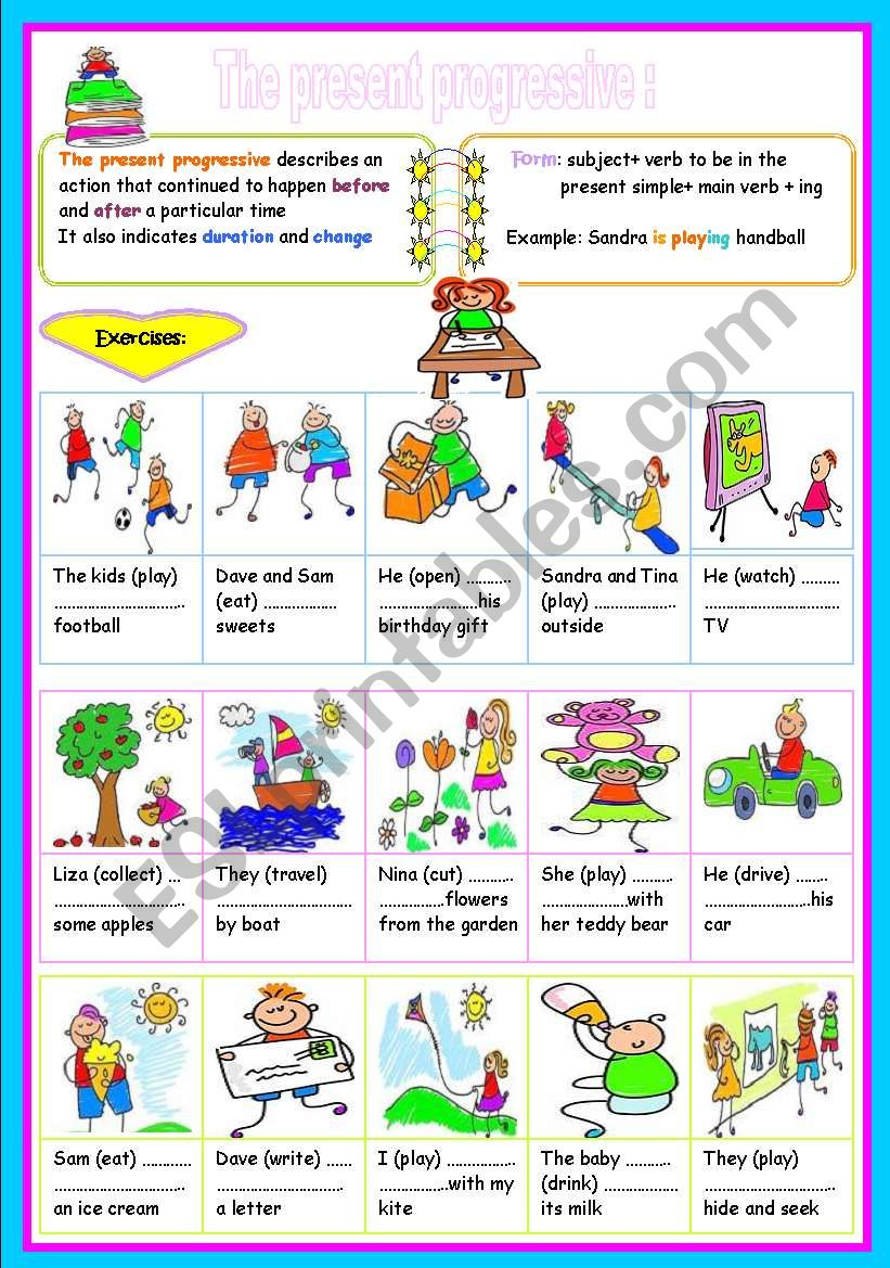 the present progressive worksheet