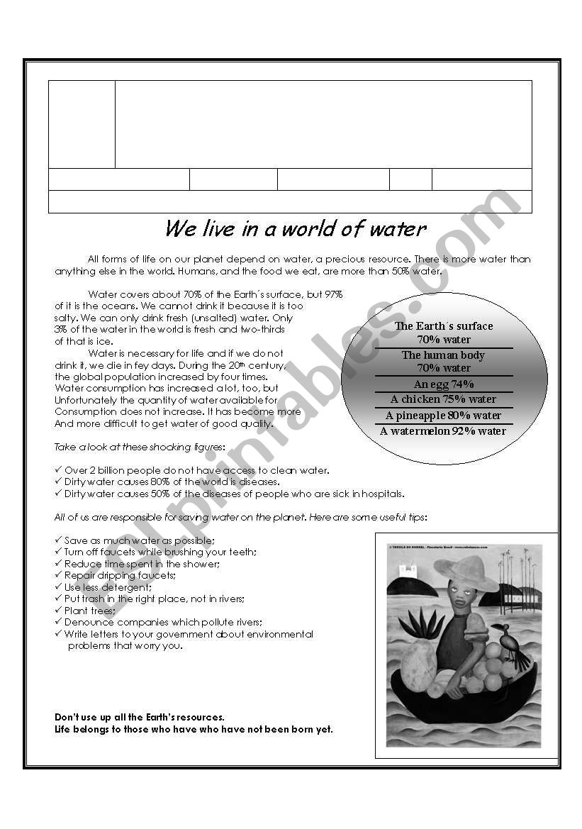 We live in a world of water worksheet