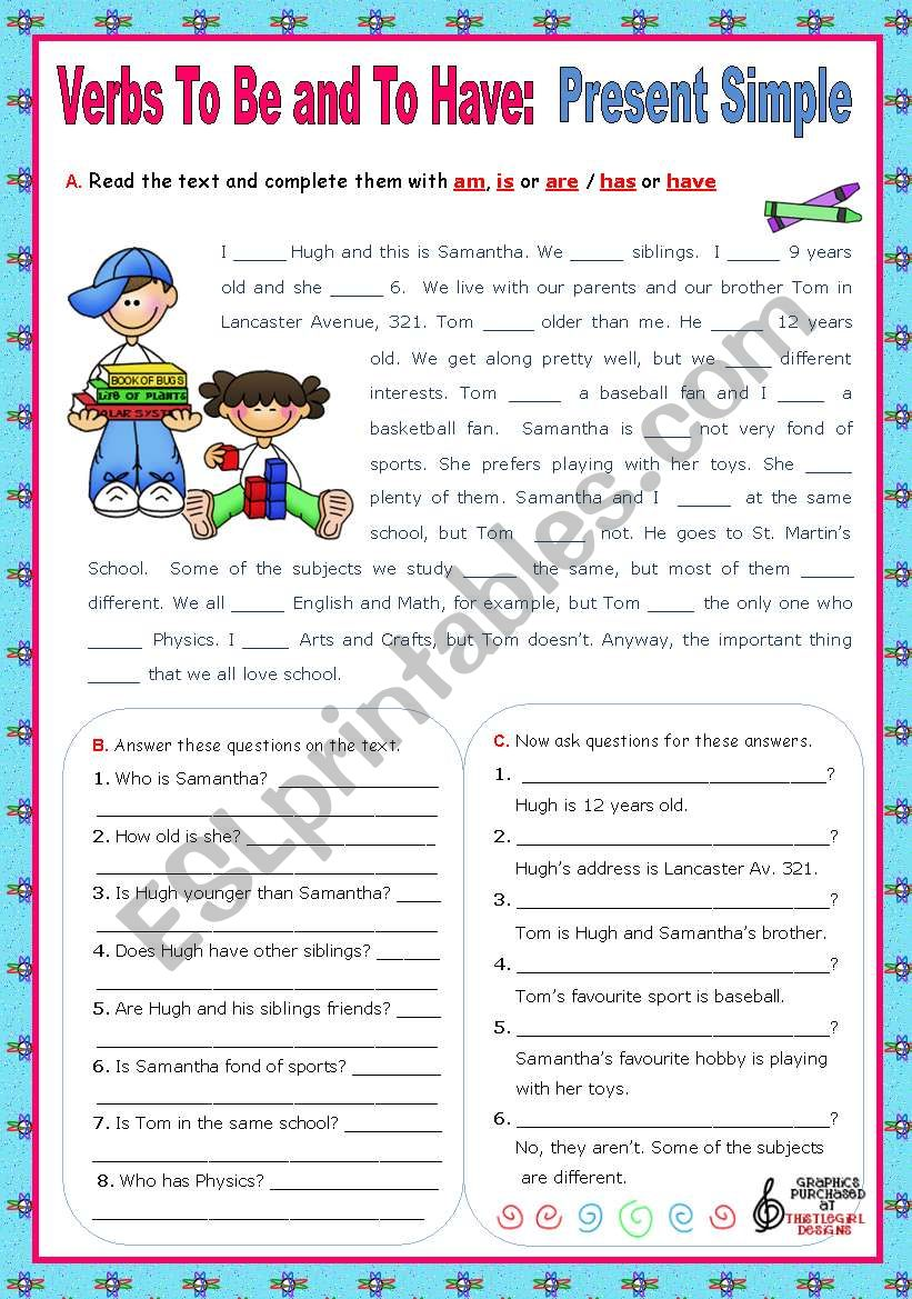 Verbs to be and to have - Simple Present - Affirmative, negative and Interrogative forms  (2)