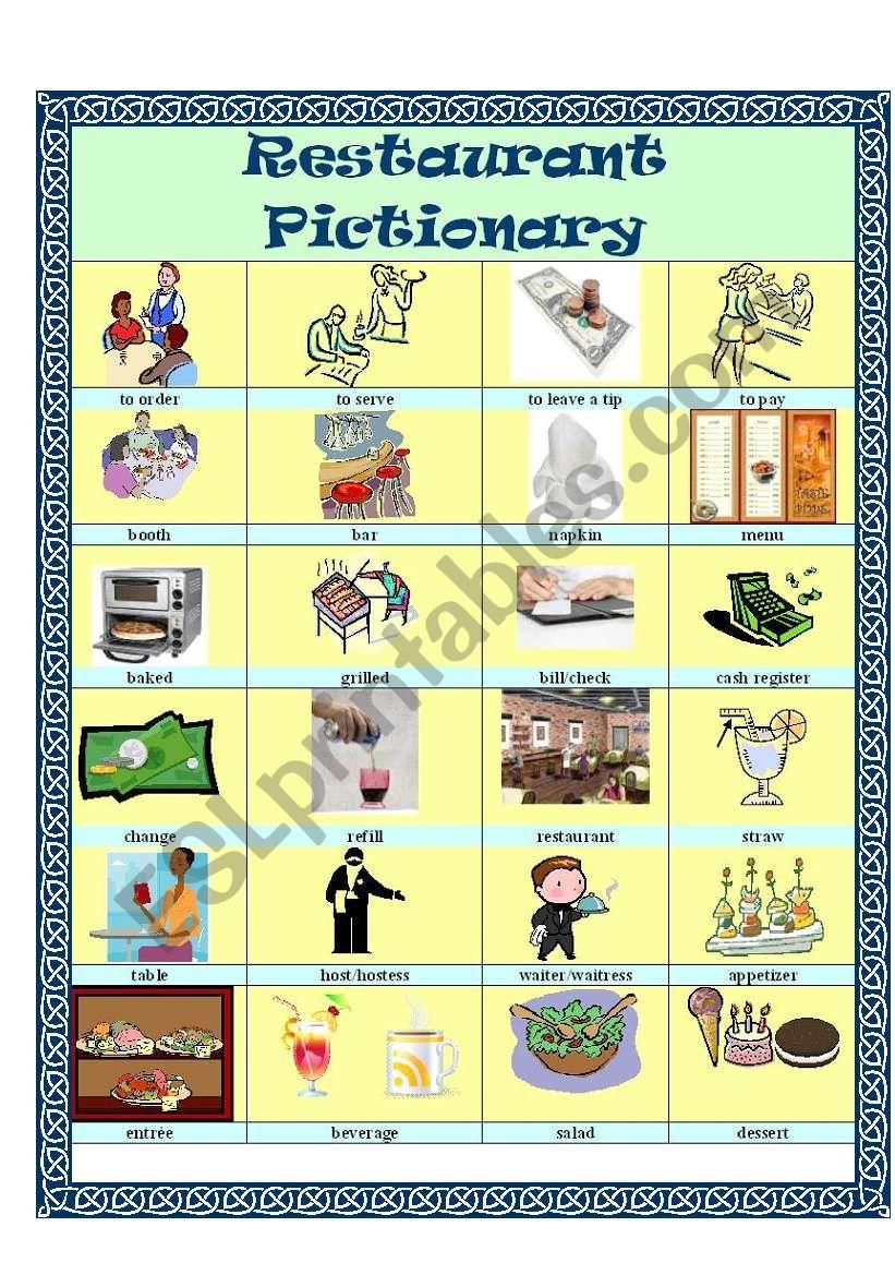 Restaurant Vocabulary - ESL worksheet by suzanne95212