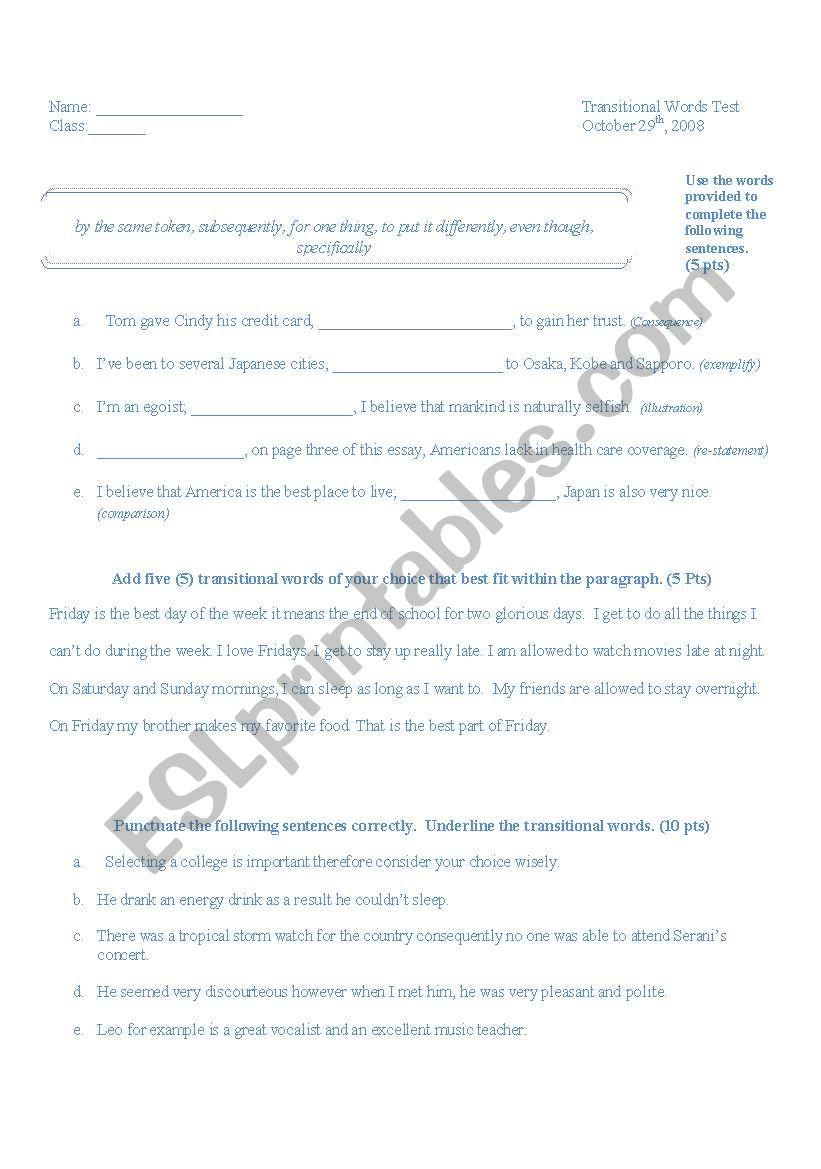 Worksheets Transition Words Worksheet transitional words test esl worksheet by nikkikie worksheet