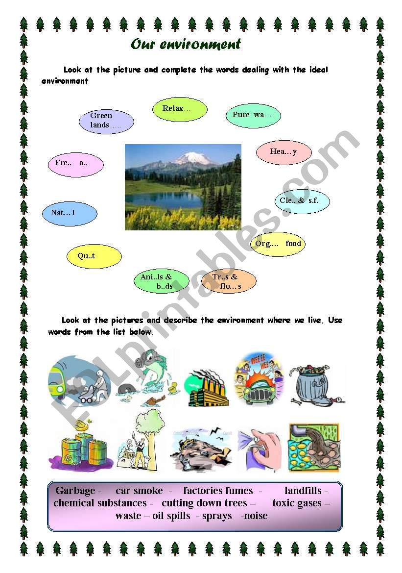 our environment worksheet