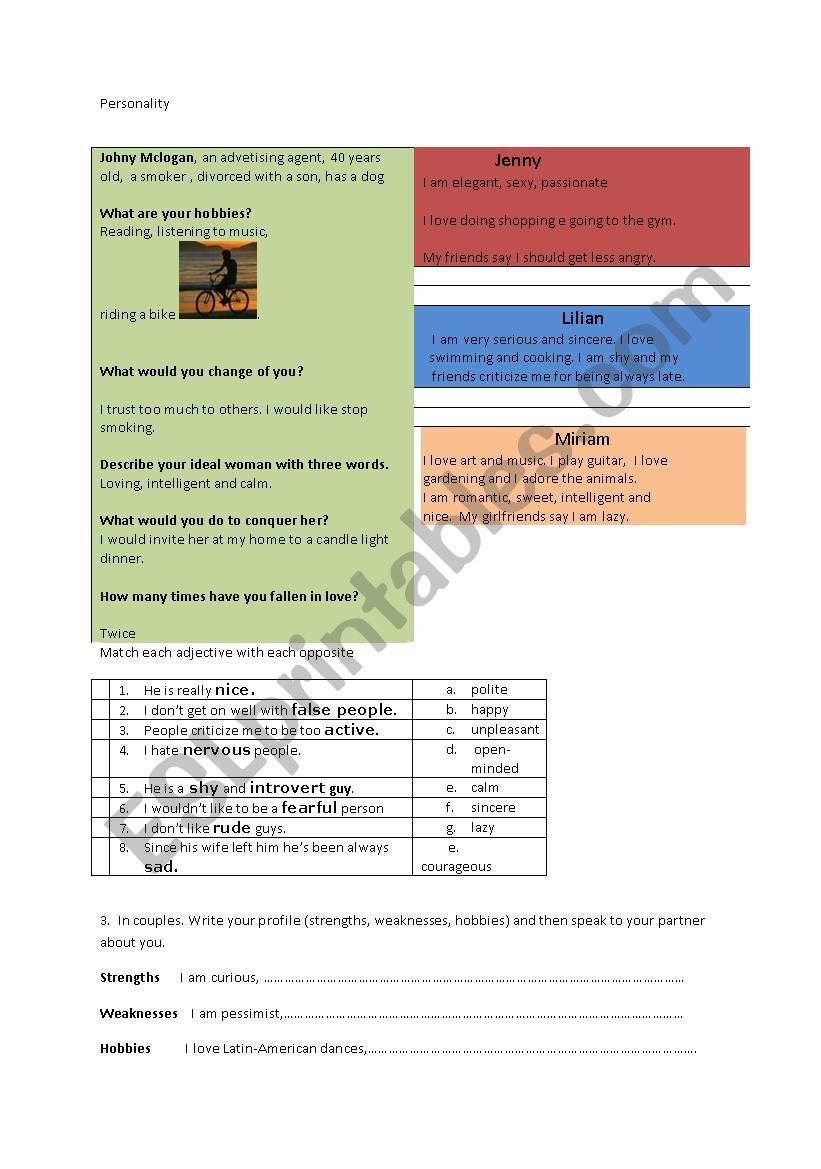 Personality worksheet