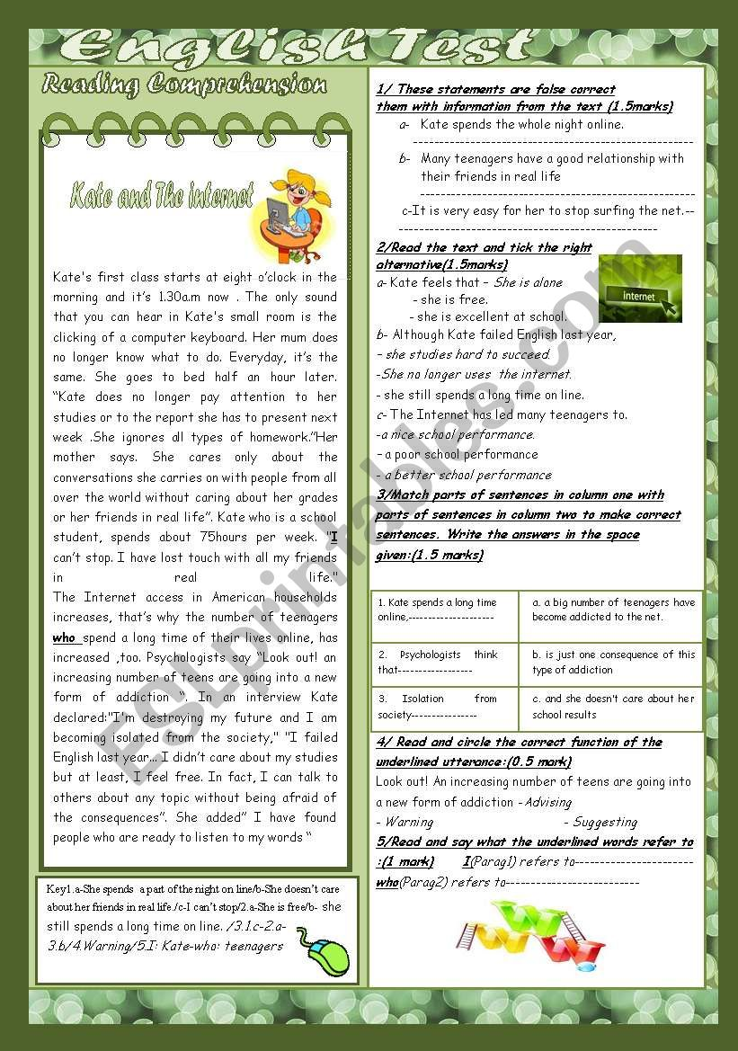 English Test(9th form End of Term 2 Test)(3 parts)Reading Comprehension: THE INTERNET/Grammar+Vocabulary/Writing(+Key)