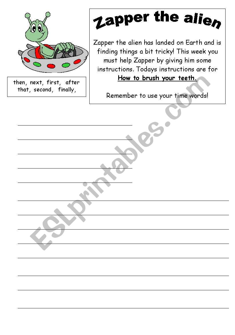 Preview A Text Worksheet : English worksheets instructions text how to brush our teeth