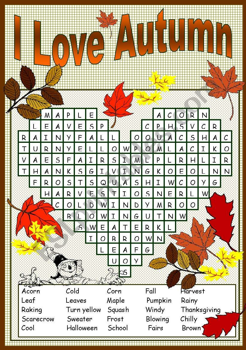 I LOVE AUTUMN PUZZLE worksheet