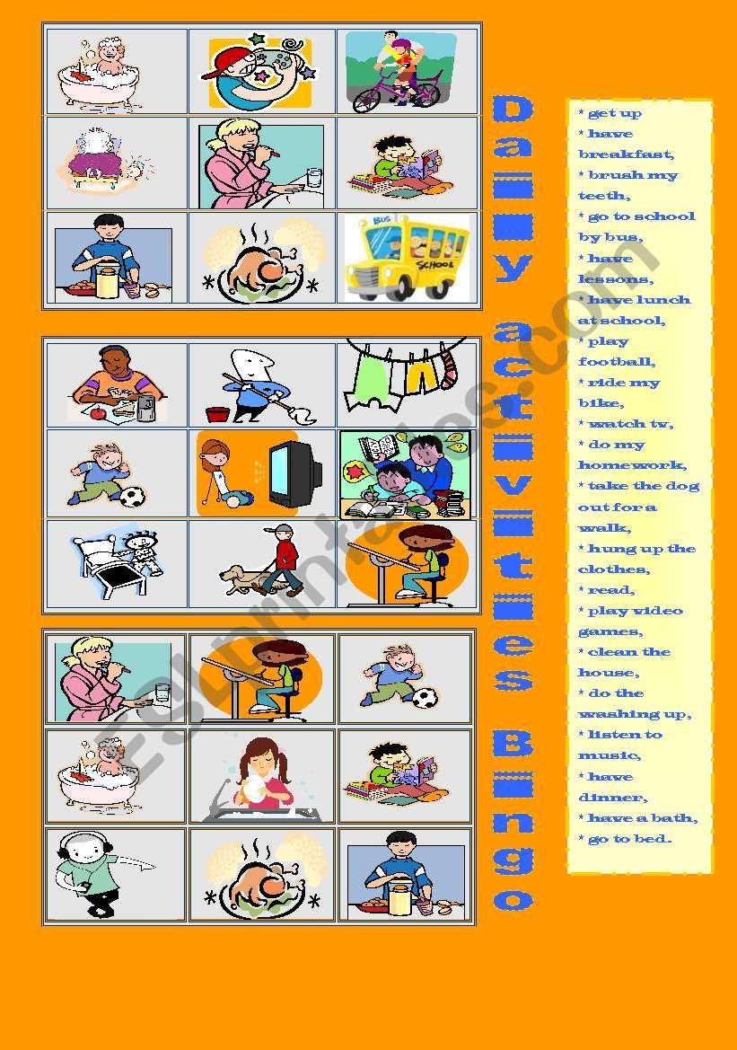 Daily Activities Bingo worksheet
