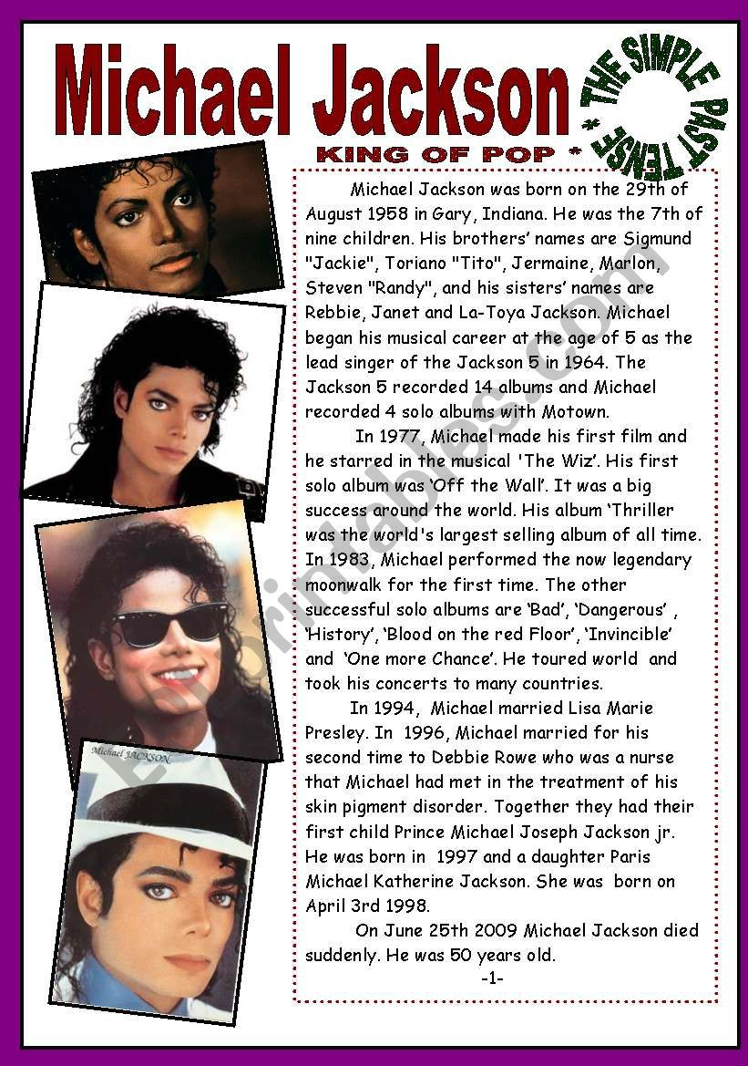 THE SIMPLE PAST TENSE - READING - MICHAEL JACKSON