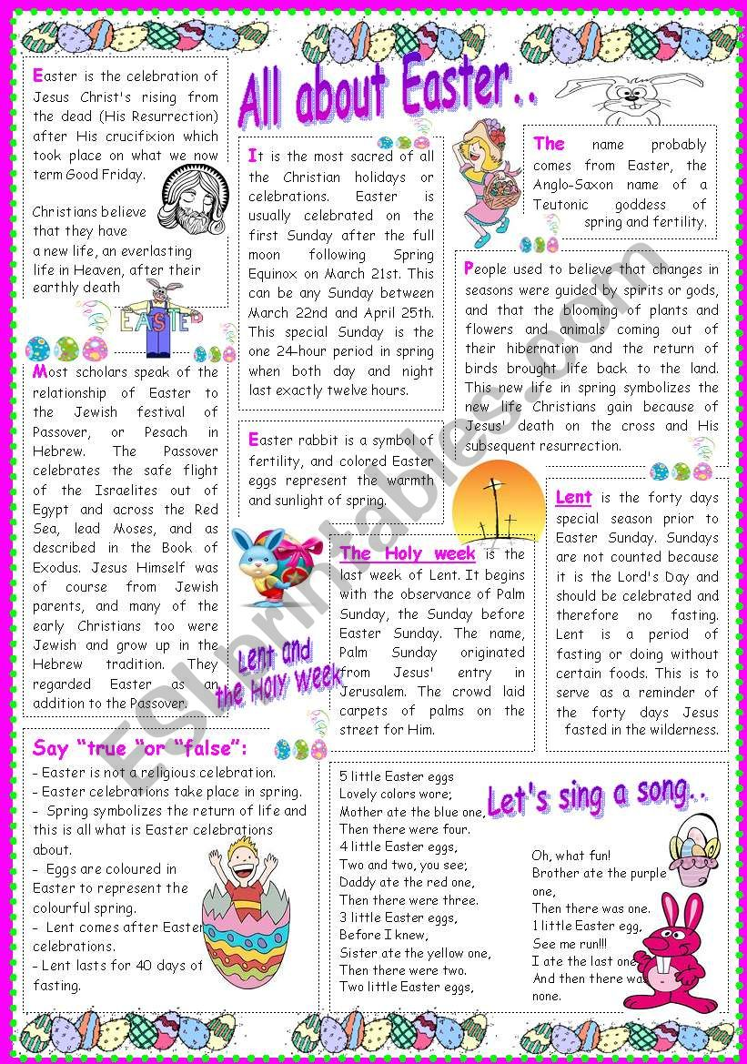 All about Easter.. worksheet