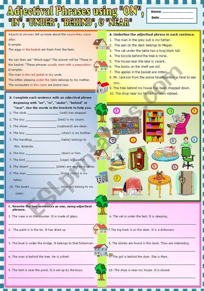 english worksheets adjectival phrases using on in under