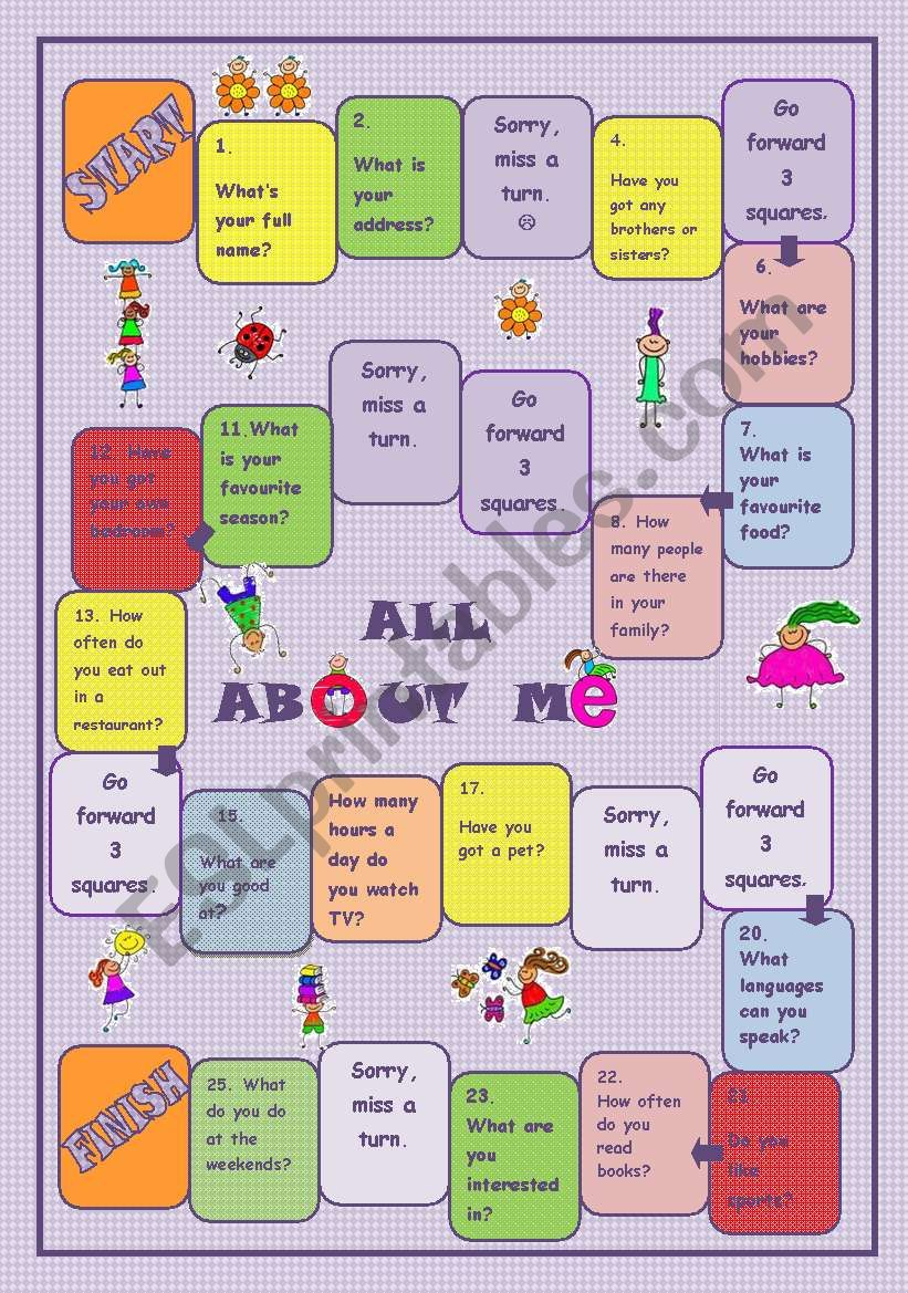 All about Me Board Game   ESL worksheet by Szilvi