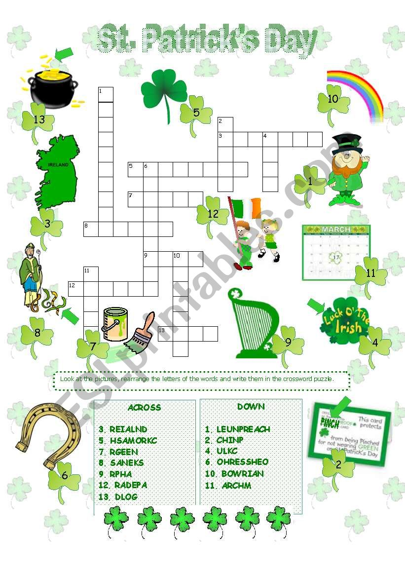 photo about St Patrick's Day Crossword Puzzle Printable titled St. Patrick´s Working day crossword - ESL worksheet by way of Anna P