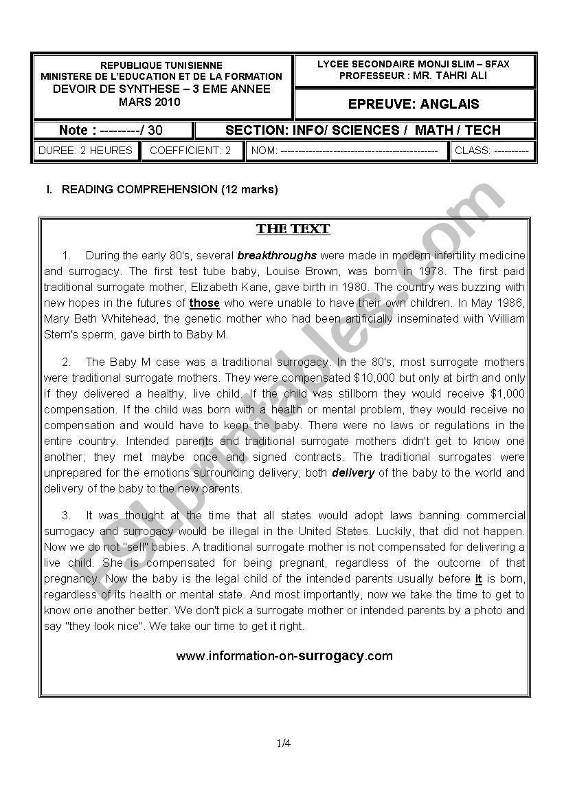 2nd term test (3rd grade) worksheet