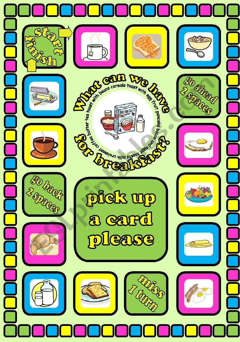 What can we have for breakfast?. Food board game + cards + instructions. Fully editable
