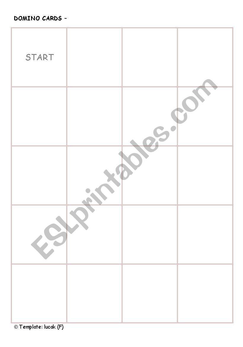 DOMINO GAME template worksheet