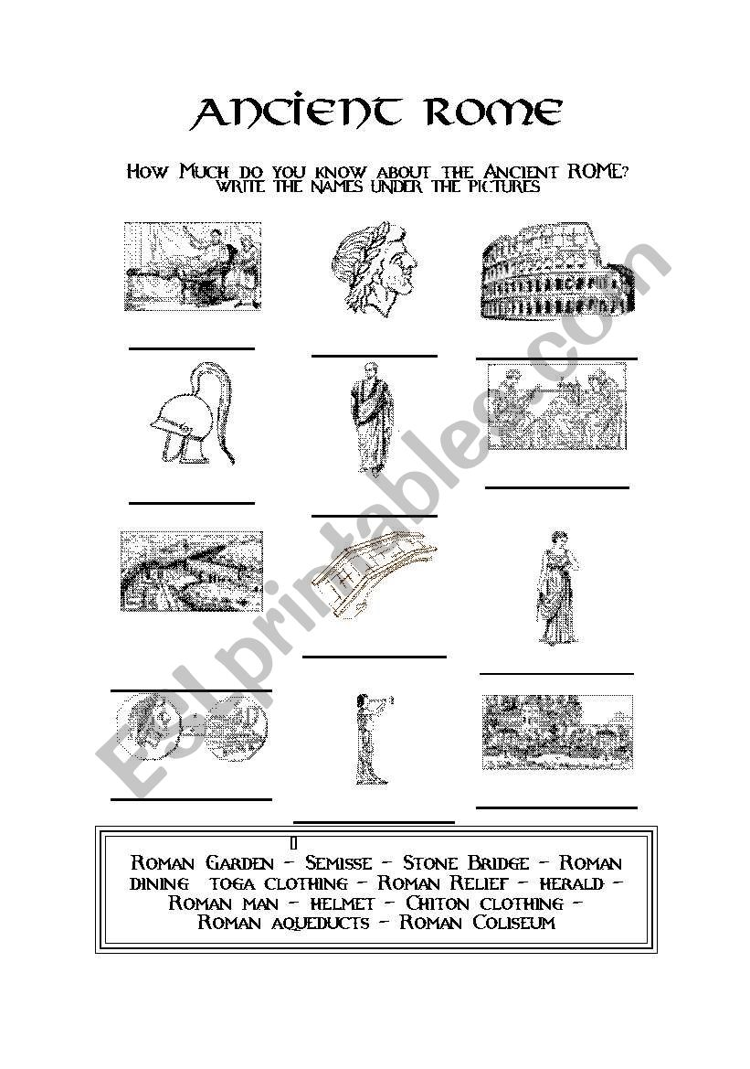 Worksheets Ancient Rome Worksheets ancient rome esl worksheet by evacufu worksheet