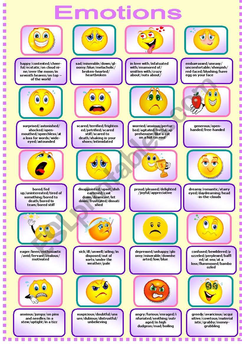 Emotions Pictionary worksheet