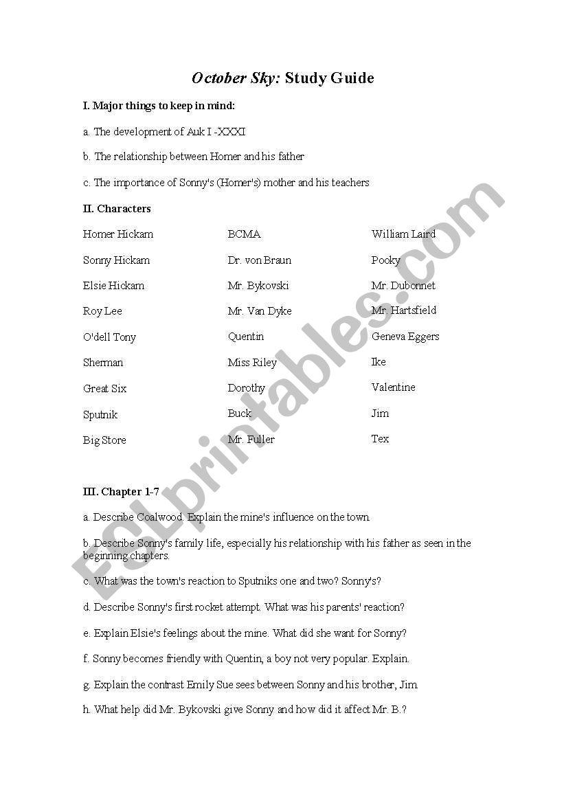 Worksheets October Sky Worksheet Answers english worksheets october sky study guide worksheet