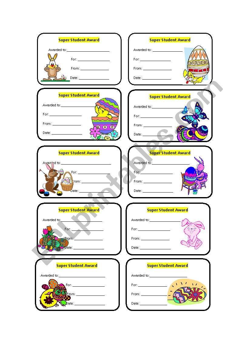 Easter awards worksheet