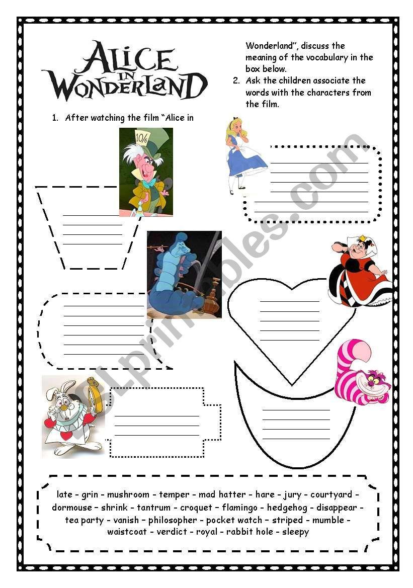Alice in Wonderland worksheet
