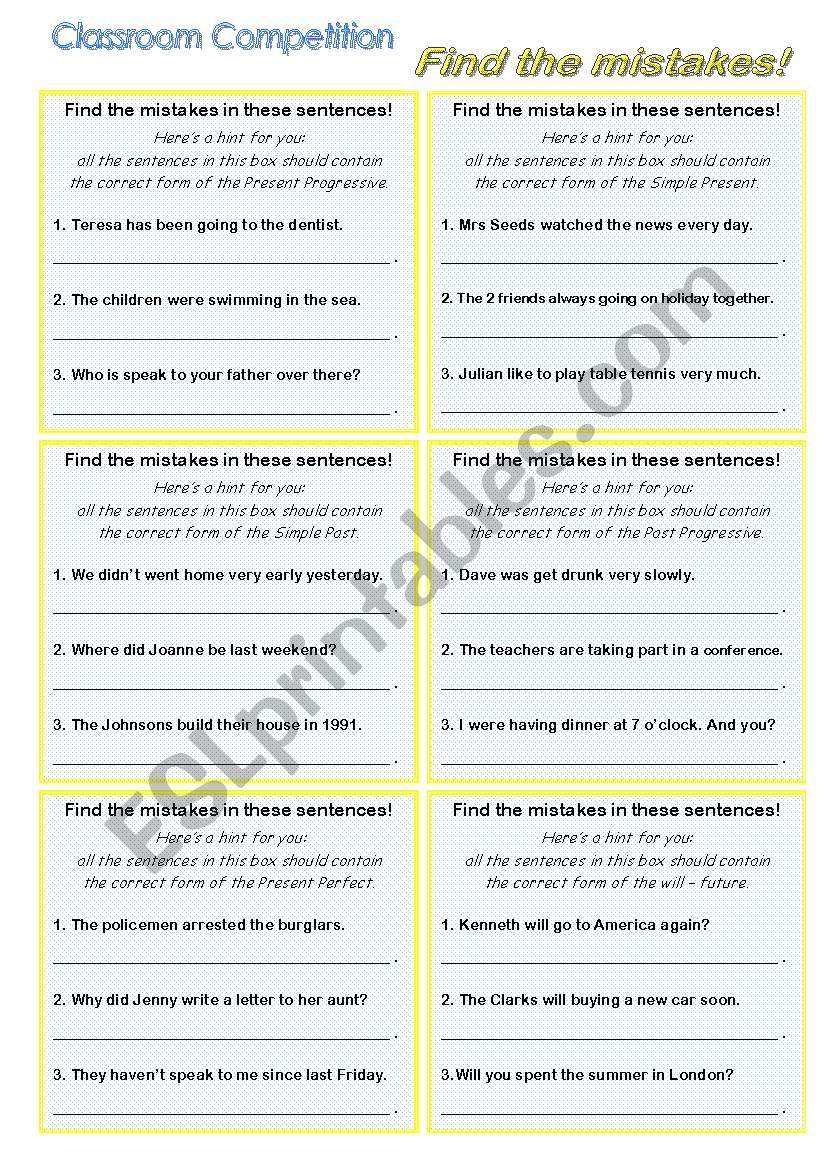 classroom competition; ERROR DETECTION; correcting sentences; grammar game (revision of tenses); B&W VERSION PLUS KEY INCLUDED AND EDITABLE!!