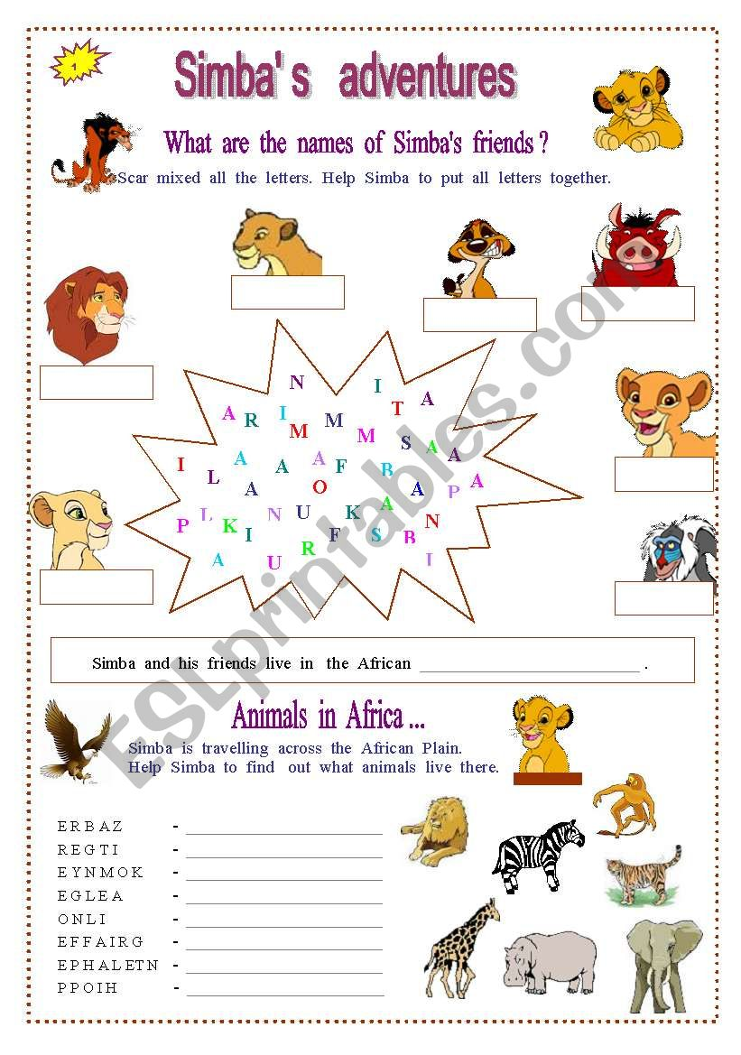 Animals worksheet