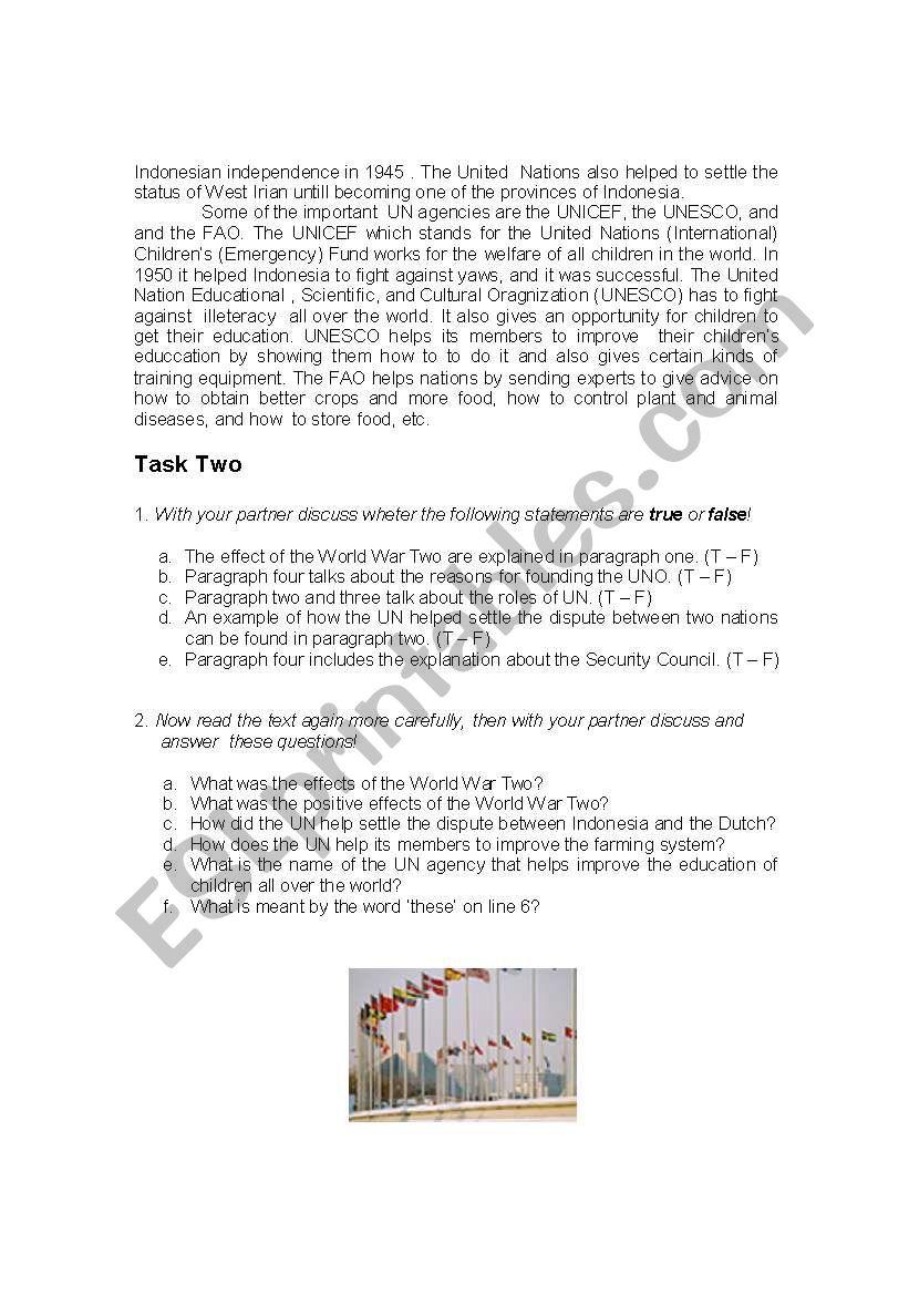 The United Nations - Reading Comprehension - ESL worksheet