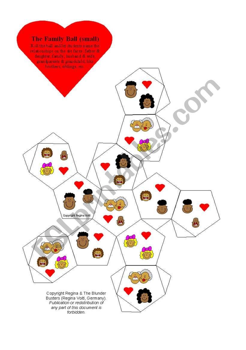 I Love My Family - Dice Game  worksheet