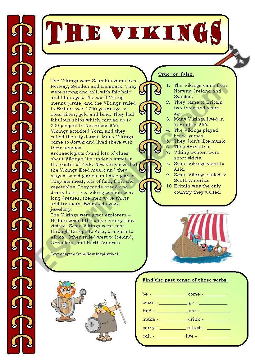 Reading comprehension - The Vikings