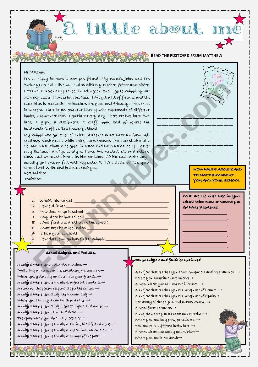 A postcard about school life worksheet