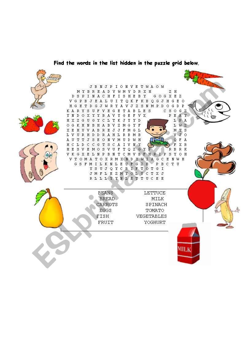 wordsearch healthy food  worksheet