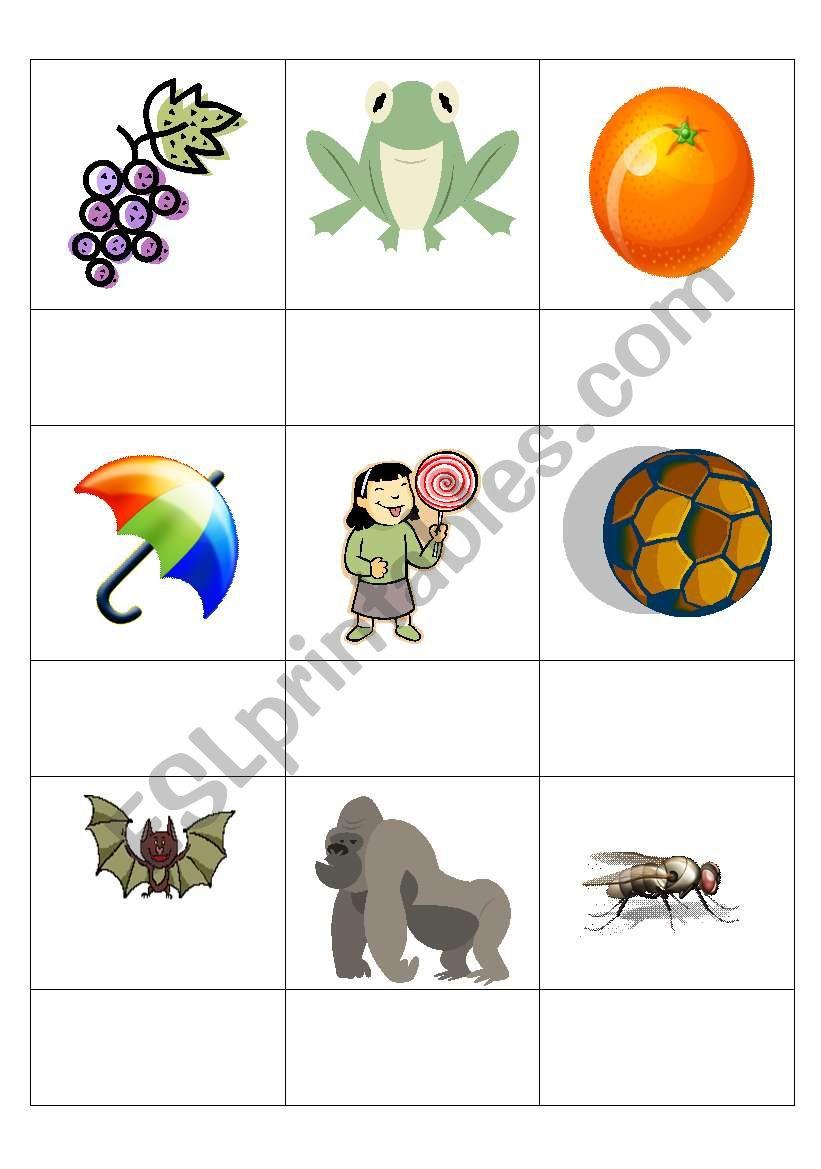 English worksheets: g,o,u,l,f,b - picture/sound match (Jolly ...