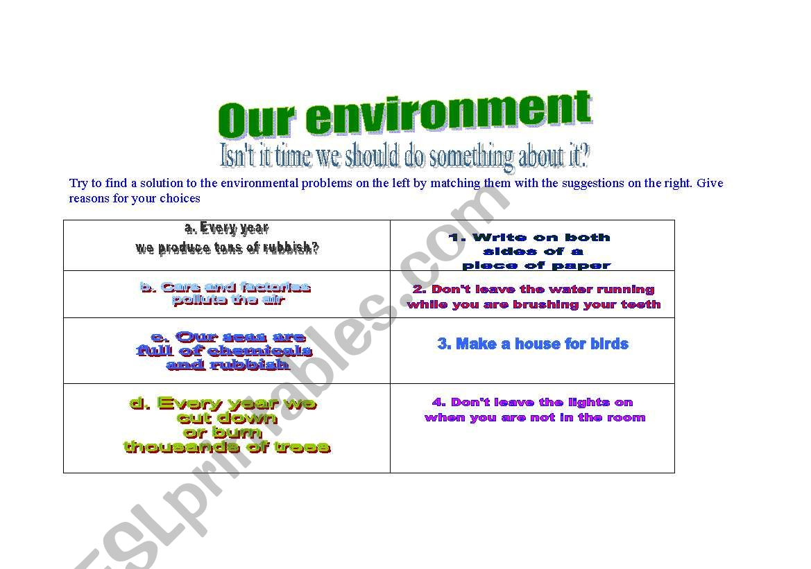 Suggestions for a greener, cleaner  environment