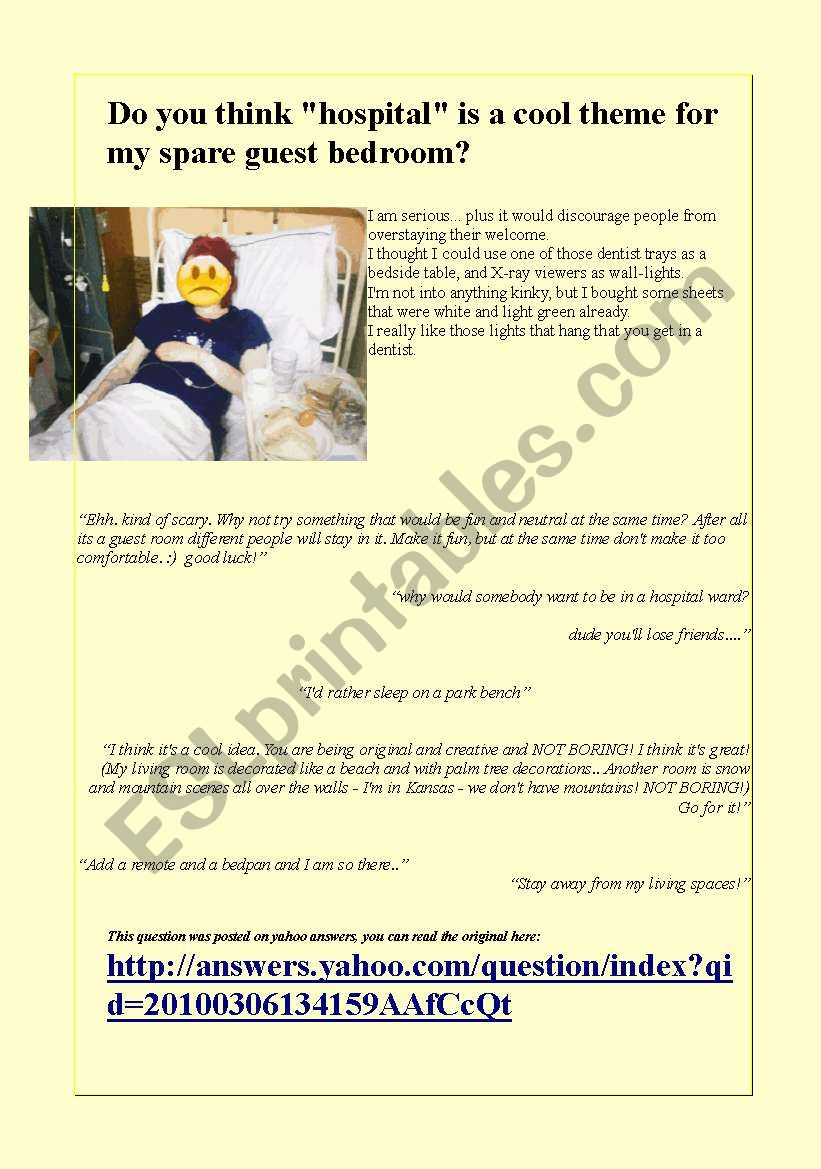 Funny communication activity about room decoration and
