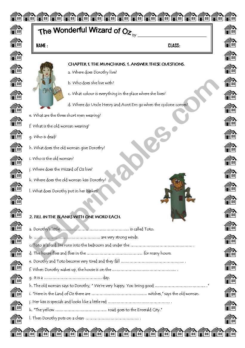 The Wonderful Wizard of Oz worksheet