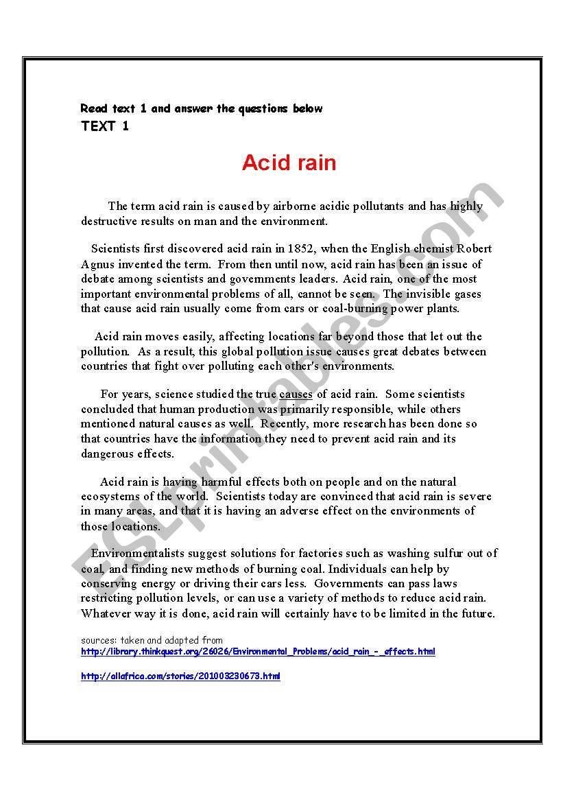Environmental Problems Acid Rain Reading Comprehension Theme The World Around Us Esl Worksheet By Shmiskeen