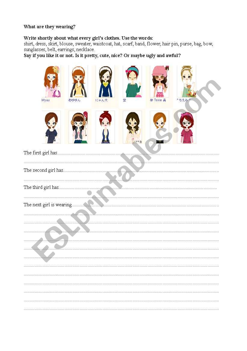 English Worksheets What Are They Wearing Fun Worksheet For Girls