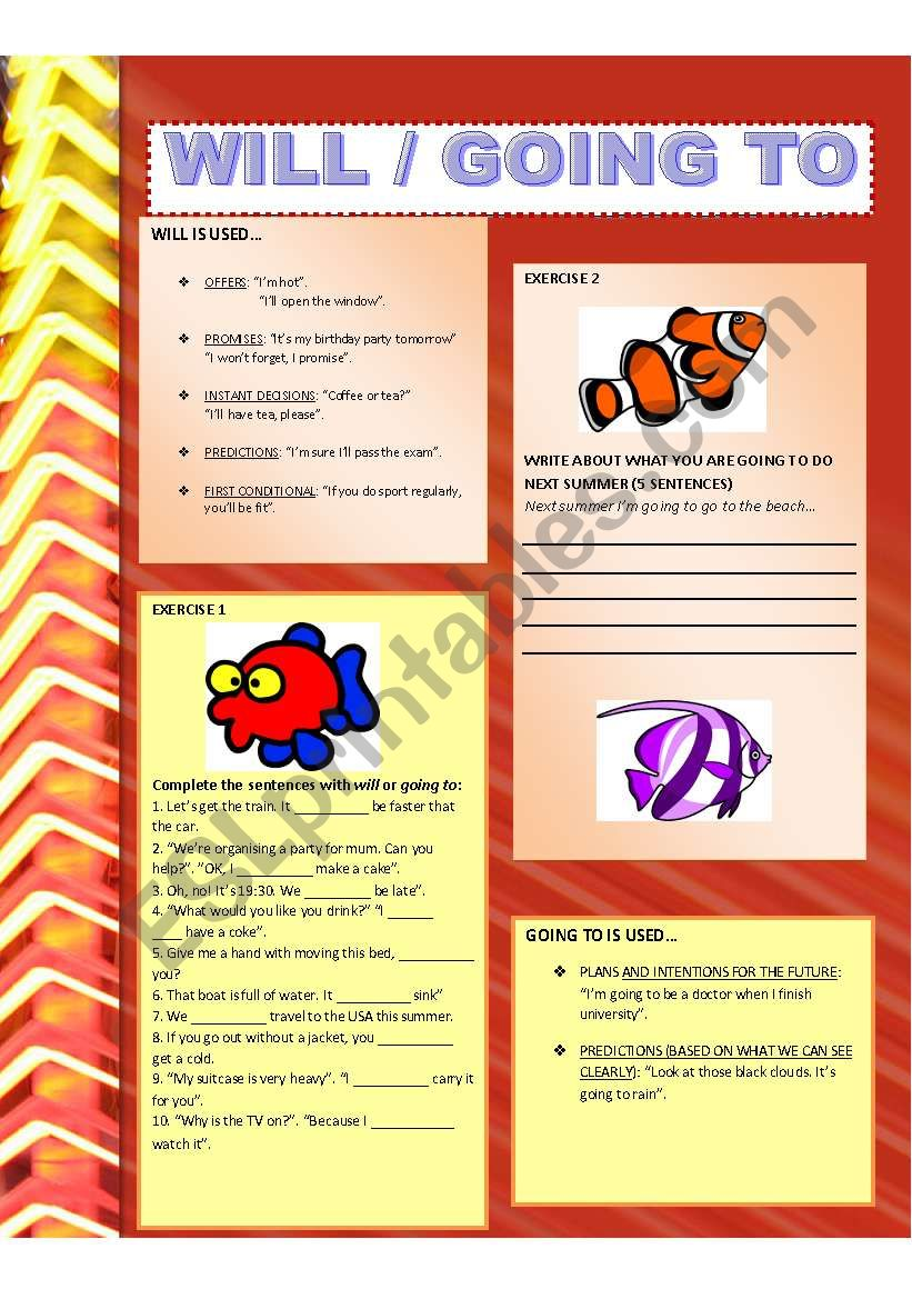 Will / Going to - ESL worksheet by coyote chus