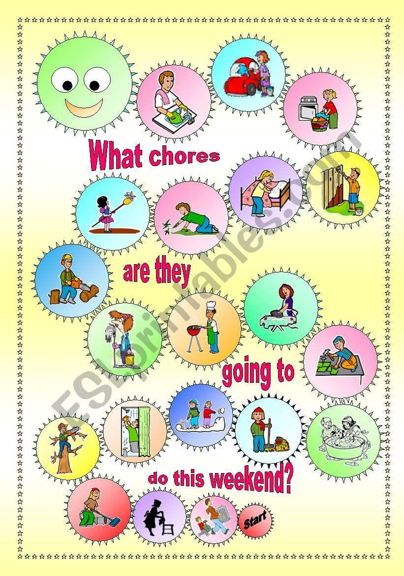 Household Chores - Boardgame worksheet