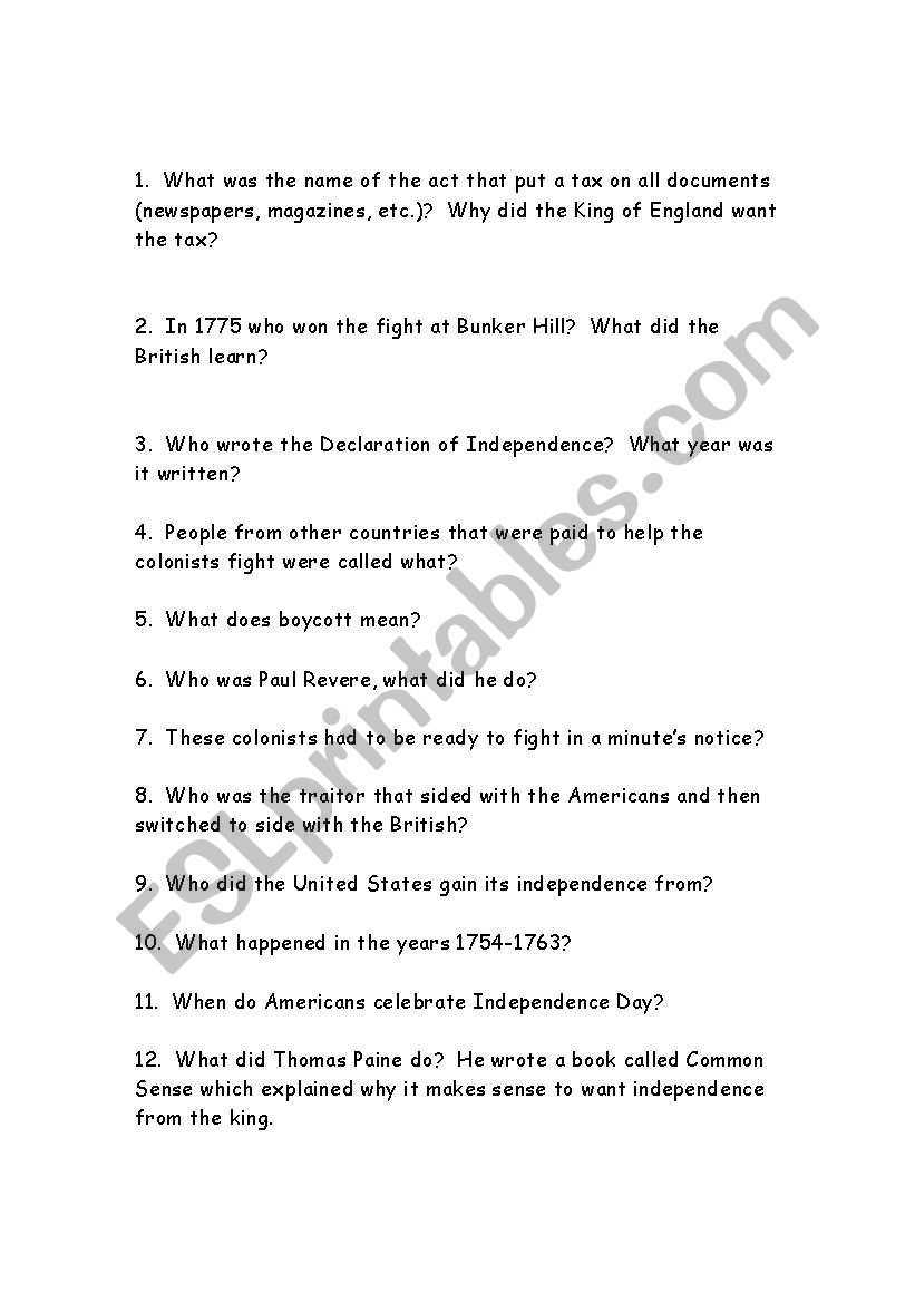 English Worksheets The American Revolution
