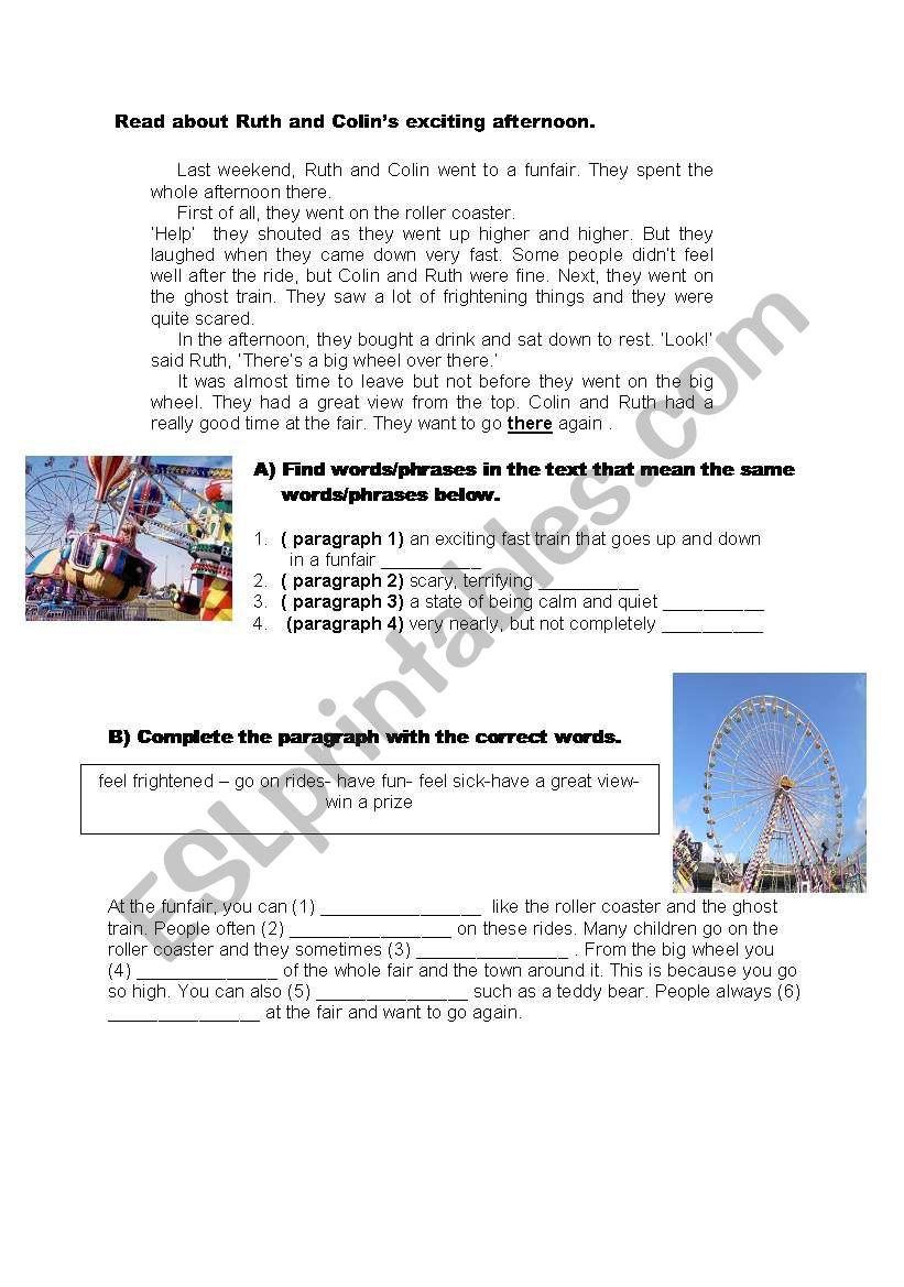 Funfair worksheet