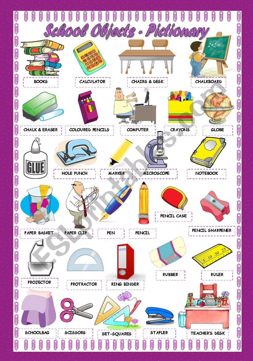 SCHOOL OBJECTS - PICTIONARY worksheet