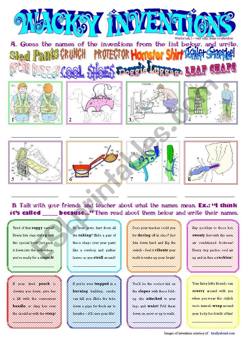 Wacky Inventions worksheet