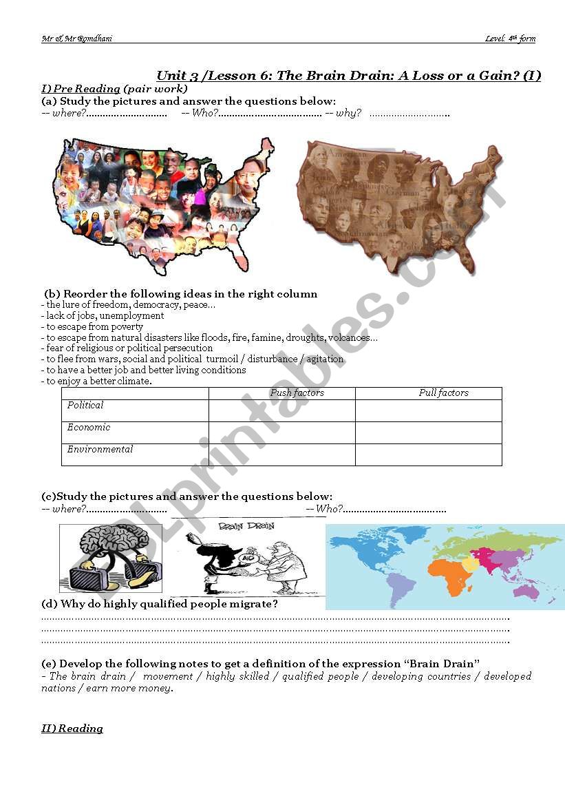 english worksheets: the brain drain