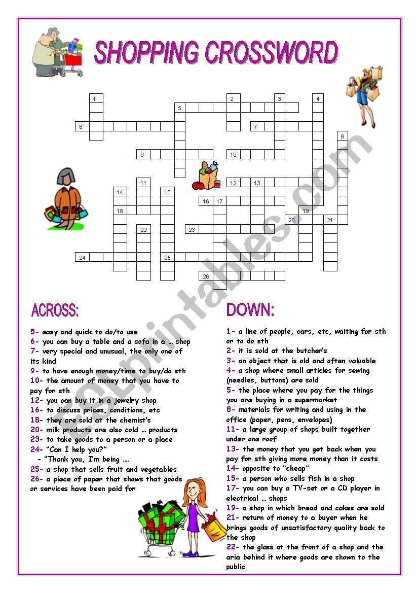 Shopping Crossword worksheet