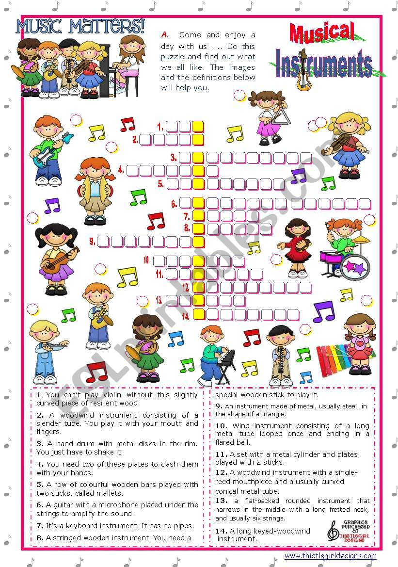 english worksheets music matters 3 crossword puzzle with music instruments. Black Bedroom Furniture Sets. Home Design Ideas