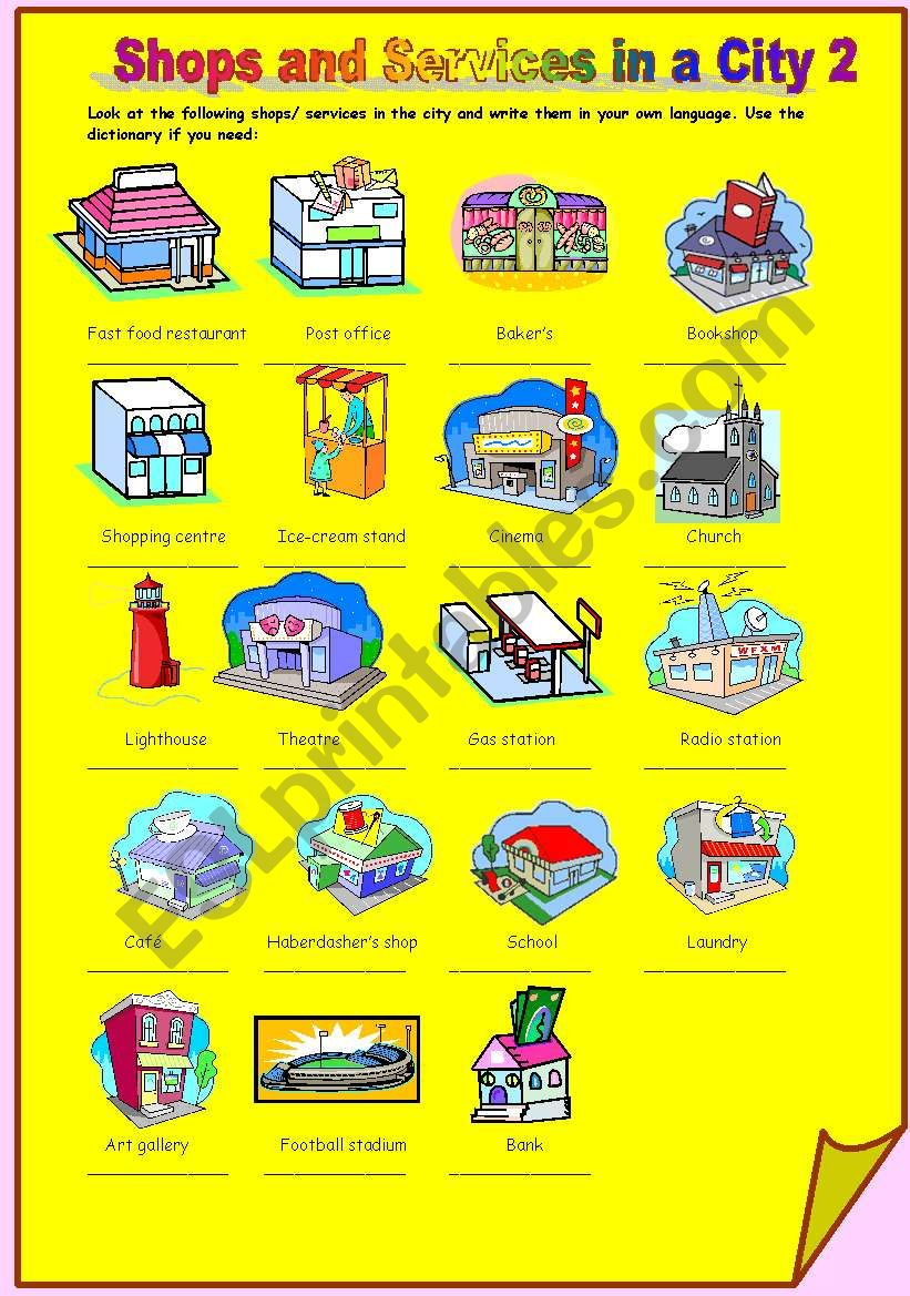 Shops and Services in a City 2